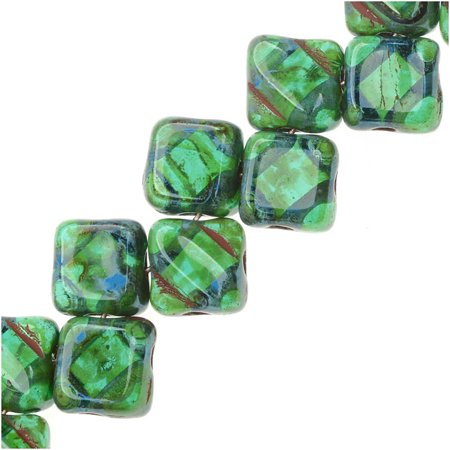 Czech Glass 2-Hole Silky Beads, 6mm Diamond Shape, 40 Pieces, Teal - Bead Shapes
