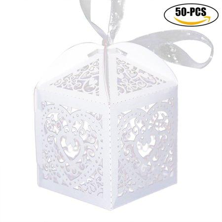 50pcs Outgeek Wedding Favor Candy Box Bag With Elegant Ribbon Hollow Treat Cardboard