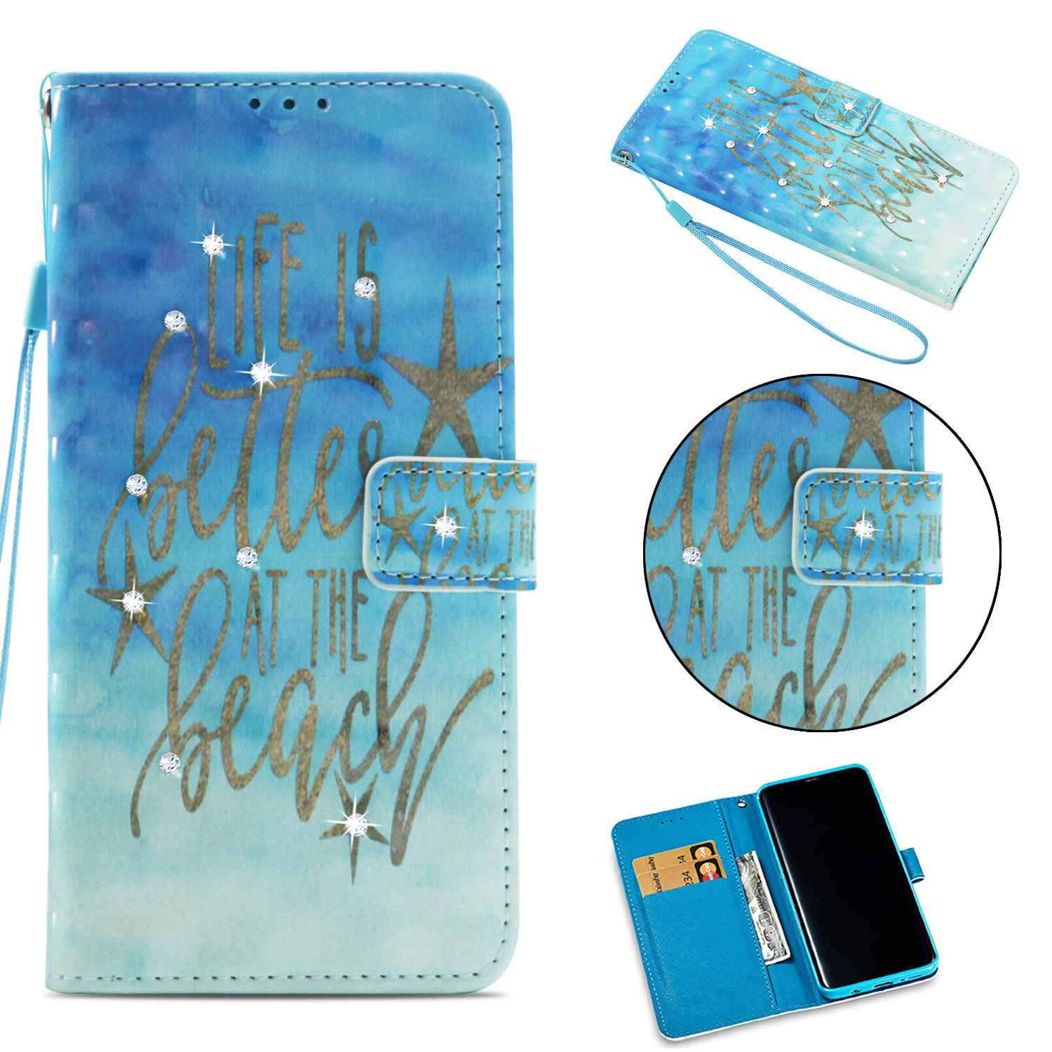 Galaxy S9 Folio Case, Allytech PU Leather Thin Lightweight Diamond Embossed Stand Full Protective Wrist Strap Cards Pocket Bumper Shockproof Wallet Case Cover for Samsung Galaxy S9, Gold Star