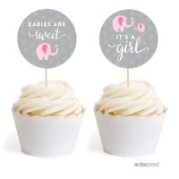 Pink Girl Elephant Baby Shower Cupcake Topper DIY Party Favors Kit, 20-Pack