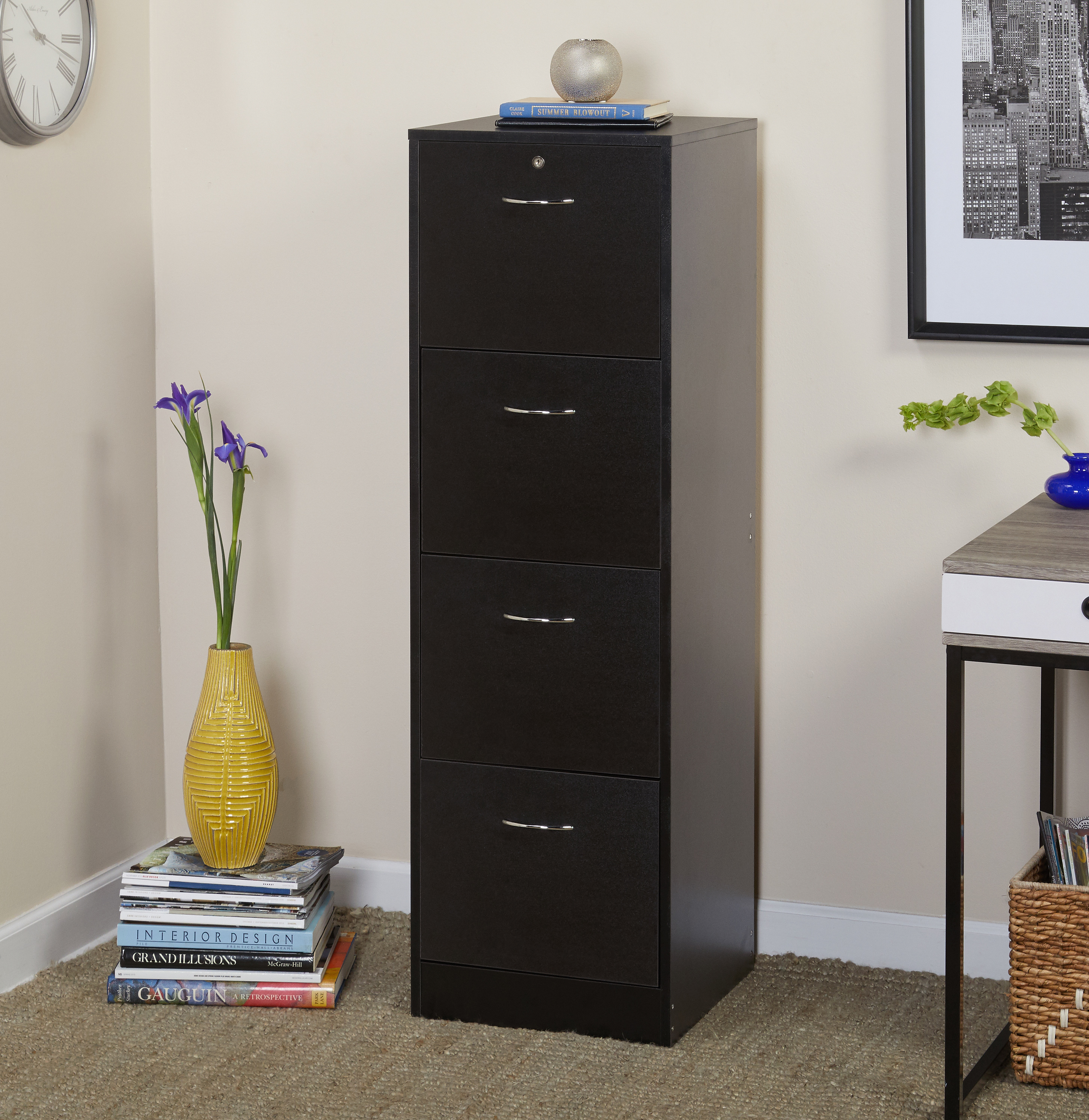 Wilson 4 Drawer Vertical Wood Lockable Filing Cabinet, Black