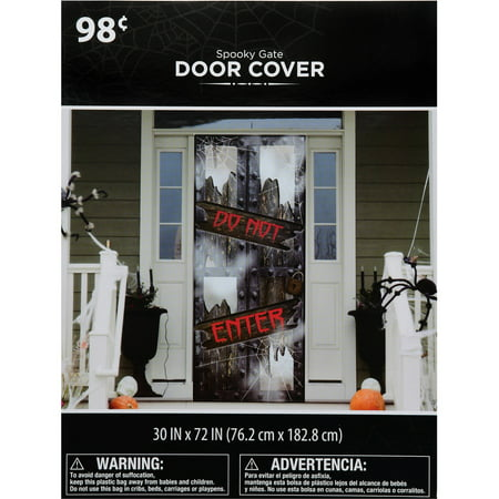 Halloween Spooky Gate ''Do Not Enter'' Door Cover - 30'' x 72'' - Halloween Retail