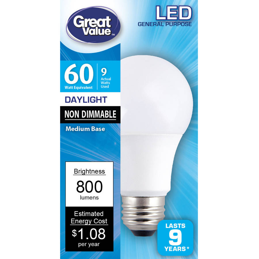 Great Value LED Light Bulb, 60W, Daylight, 1 Count
