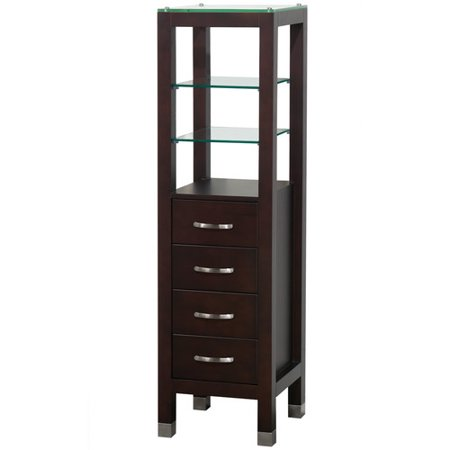 Wyndham Collection Fiona Bathroom Linen Tower in Espresso with Shelved Cabinet Storage and 4 Drawers Espresso Linen Tower