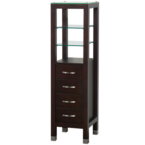 Wyndham Collection Fiona Bathroom Linen Tower in Espresso with Shelved Cabinet Storage and 4 Drawers