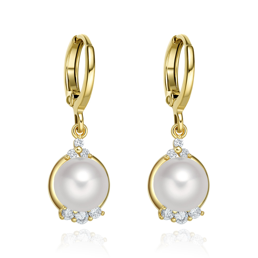 Beautiful and Fancy White Sparkling Crystals and Simulated Pearl Gold-Tone Fashionable Eardrop Earrings