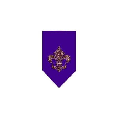 Fleur De Lis Gold Rhinestone Bandana Purple Small - Gold Bandanas