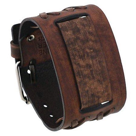 Leather Cuff Band - DXB-B Criss Cross Pattern Wide Moro Brown Leather Cuff Wrist Watch Band