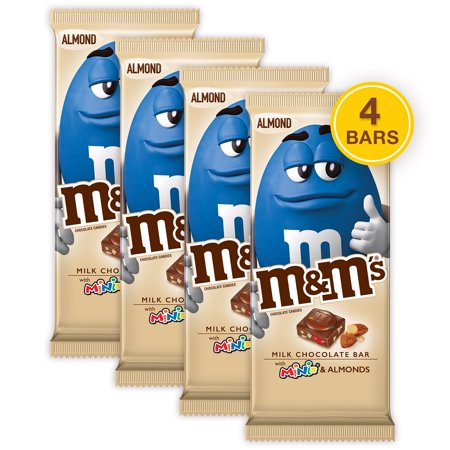 (4 pack) M&M'S Minis, Almond & Milk Chocolate Candy Bar, 3.9 (Mini Milk Chocolate Bottle)