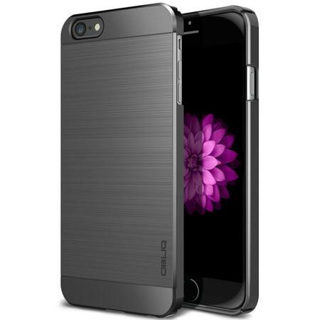 OBLIQ, iPhone 6S Plus Case [Slim Meta][Titanium Space Gray] Premium Slim Fit Thin Metallic Brushed All Around Shock Resistant PC Protective Cover for iPhone 6 Plus & iPhone 6S Plus
