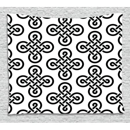 Celtic Decor Tapestry, Old-Fashion Irish Knot Motifs Symmetric Regular Design European Culture Theme, Wall Hanging for Bedroom Living Room Dorm Decor, 60W X 40L Inches, Black White, by Ambesonne for $<!---->