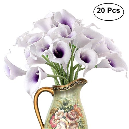 - 20pcs Artificial Calla Lily Bridal Wedding Bouquet Flowers Real Touch Decorative Bouquet (Purple & White)