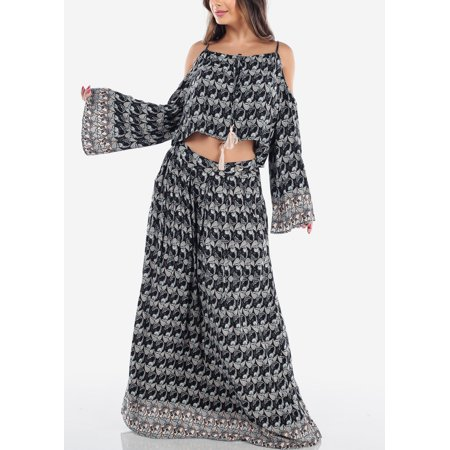 Womens Juniors Sexy Stylish Summer Lightweight Black Floral Print Angel Long Sleeve Cold Shoulder Crop Top And High Waisted Maxi Skirt With Pockets Two Piece Set Jumpsuit (Two Piece Maxi Skirt And Crop Top)