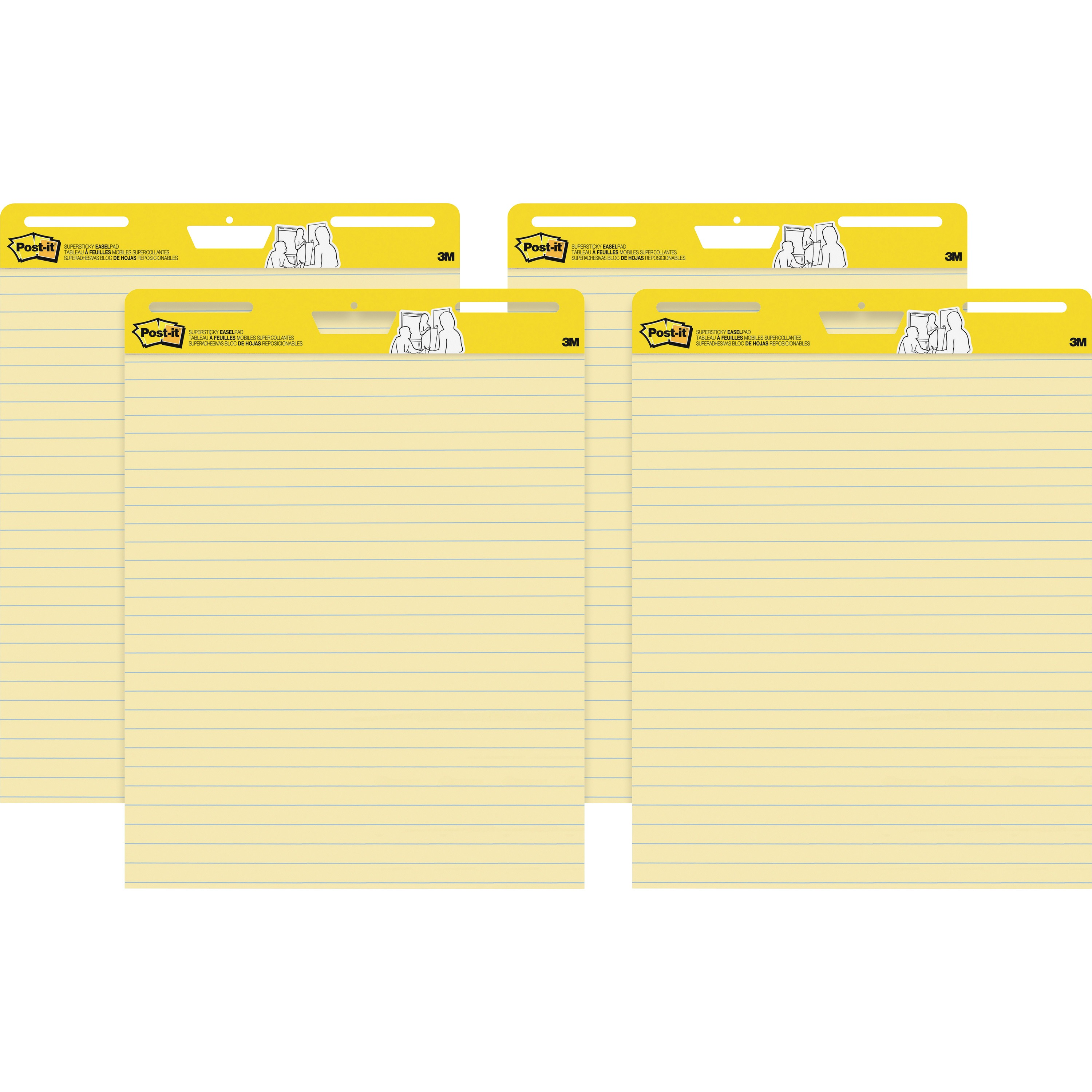 "Post-it Self-Stick Easel Pads, 25"" x 30"", Yellow Ruled, 30-Sheets/Pad, 4-Pads/Pk"
