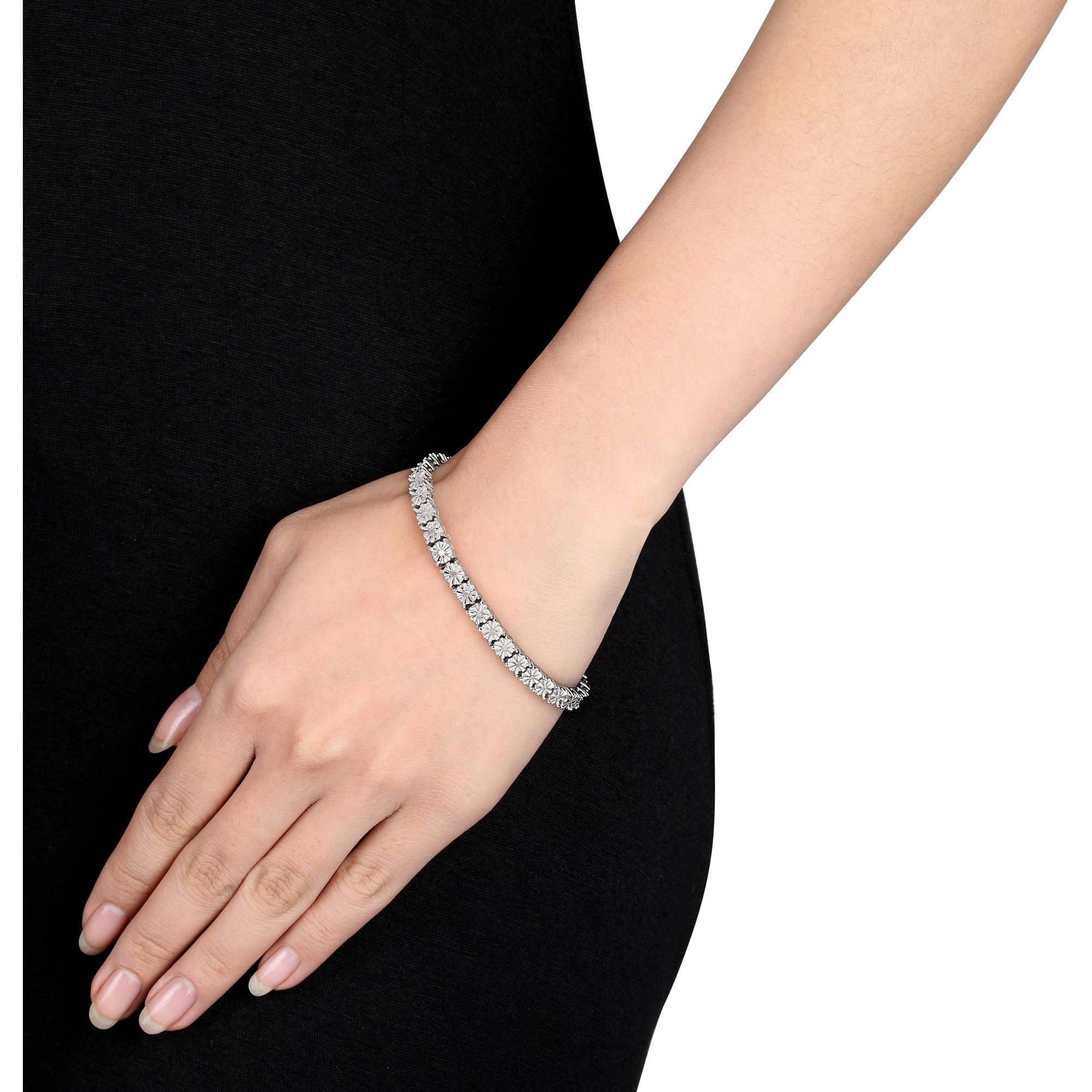 Miabella 1 2 Carat T W Diamond Sterling Silver Tennis Bracelet 7