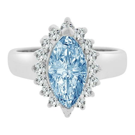 Sterling Silver White Rhodium, Marquise Shape Ring Aqua CZ Crystals Mar Created Birthstones
