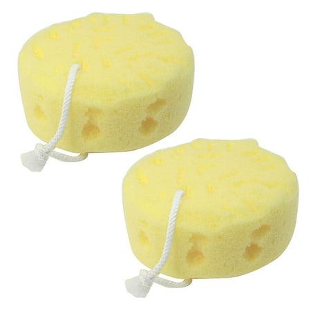 2 Pack Houseware Natural Body Shower Bath Sponge Pouf Rope to Hang (Natural Bath Sponge)