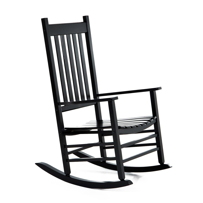 Outsunny Porch Rocking Chair Outdoor Patio Wooden Rocker - Black