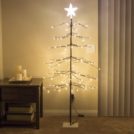 Best Choice Products 5Ft 144L LED Fir Snow Tree Lights W/ Star Tree Topper Home Christmas Festival Party, Warm