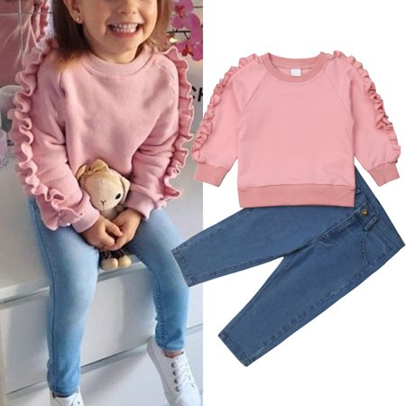 2PCS Toddler Kids Baby Girls Ruffle Tops Denim Pants Jeans Winter Outfits Clothes 1-6