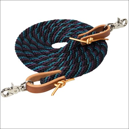 MIDNIGHT SKY 8 FT WEAVER HORSE POLY ROPING REINS W/ LEATHER LACES LOOP ENDS