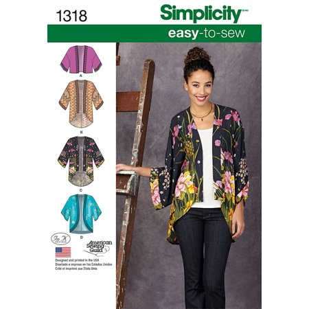 Simplicity Creative Patterns 1318 Misses' Kimono Jackets Sewing Patterns, Size A (XXS-XS-S-M-L-XL-XXL), Made in the United States Ship from - Jacket Simplicity Pattern