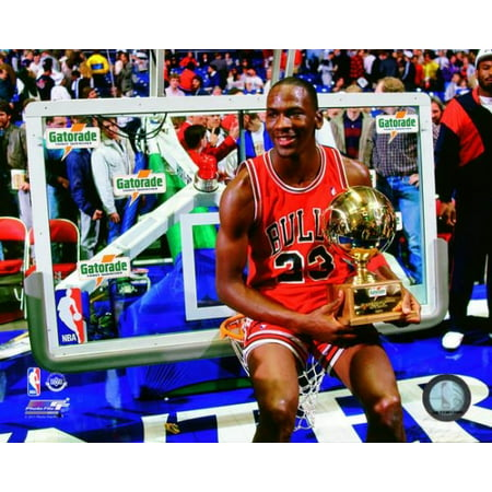 Michael Jordan with the 1987 NBA All Star Slam Dunk Contest Trophy Photo - All Star Trophy