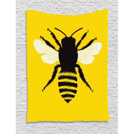 Queen Bee Tapestry, Silhouette of Honeybee with Stripped Design and Detailed Wings Abstract, Wall Hanging for Bedroom Living Room Dorm Decor, Black Yellow White, by (Wings Tapestry)