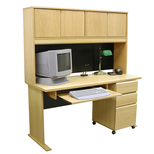 Rush Furniture Modular Real Oak Wood Veneer Standard Computer Desk with Hutch