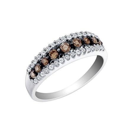White and Champagne Diamond Ring 1/2 Carat (ctw) in 10K White Gold Champagne Stone Ring
