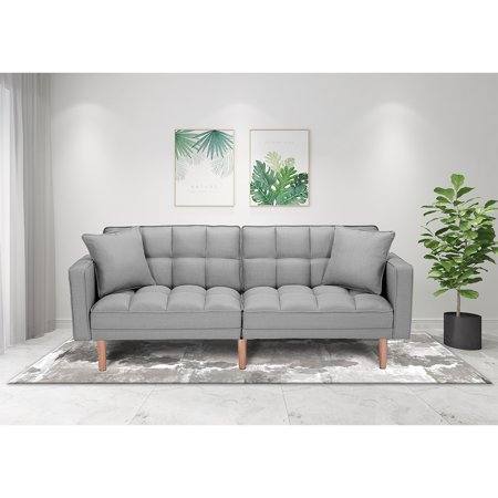 Gray Couch, SEVENTH Convertible Sofa Bed, Modern Fabric Sleeper Sofa Bed, Futon Couches and Sofas Sleeper with Armrest, Wood Legs, Two Pillows, Recliner Couch Living Room Furniture Sofa, Q133