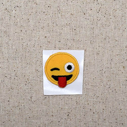 IRON ON AND STICK ON EMOJI WINK  2 x 2 inch