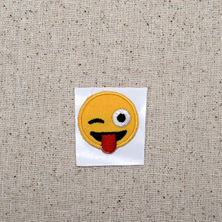 Ribbon Emoji (SMALL - Smiley Face - Emoji Winking with Tongue - Iron on Applique - Embroidered)