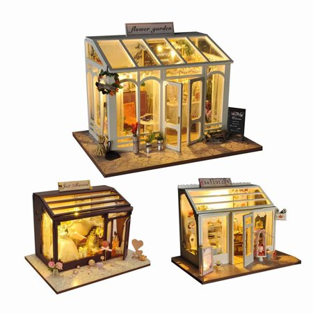 Akoyovwerve 1Pcs DIY 3D Dollhouse Wooden Flower Garden Cake Shop Bridal  Shop Kit Miniature Garden w/ LED Light, Size A