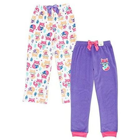 St Eve Girl's Microfleece Sleep Pant by Komar Kids, 2-Pack, Purple Fox, Size 12](Foxy Kids)