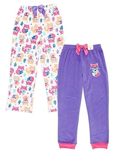 St Eve Girl's Microfleece Sleep Pant by Komar Kids, 2-Pack, Purple Fox, Size 12