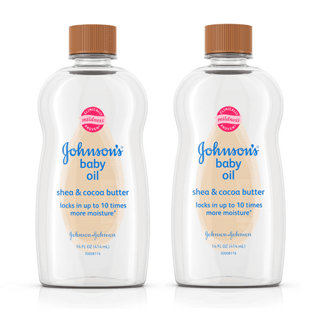 (2 pack) Johnson's Baby Oil with Shea & Cocoa Butter, 14 fl. (Baby Massage Gel)
