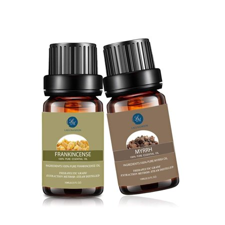 Pure Essential Oils Set (2x10mL) Natural Pure Aromatherapy Oils Therapeutic Grade Fragrance for Oil Diffuser Humidifier,Frankincense Myrrh