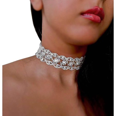 Women Punk Style Alloy Crystal Rhinestone Golden Chain Exquisite Necklace Choker
