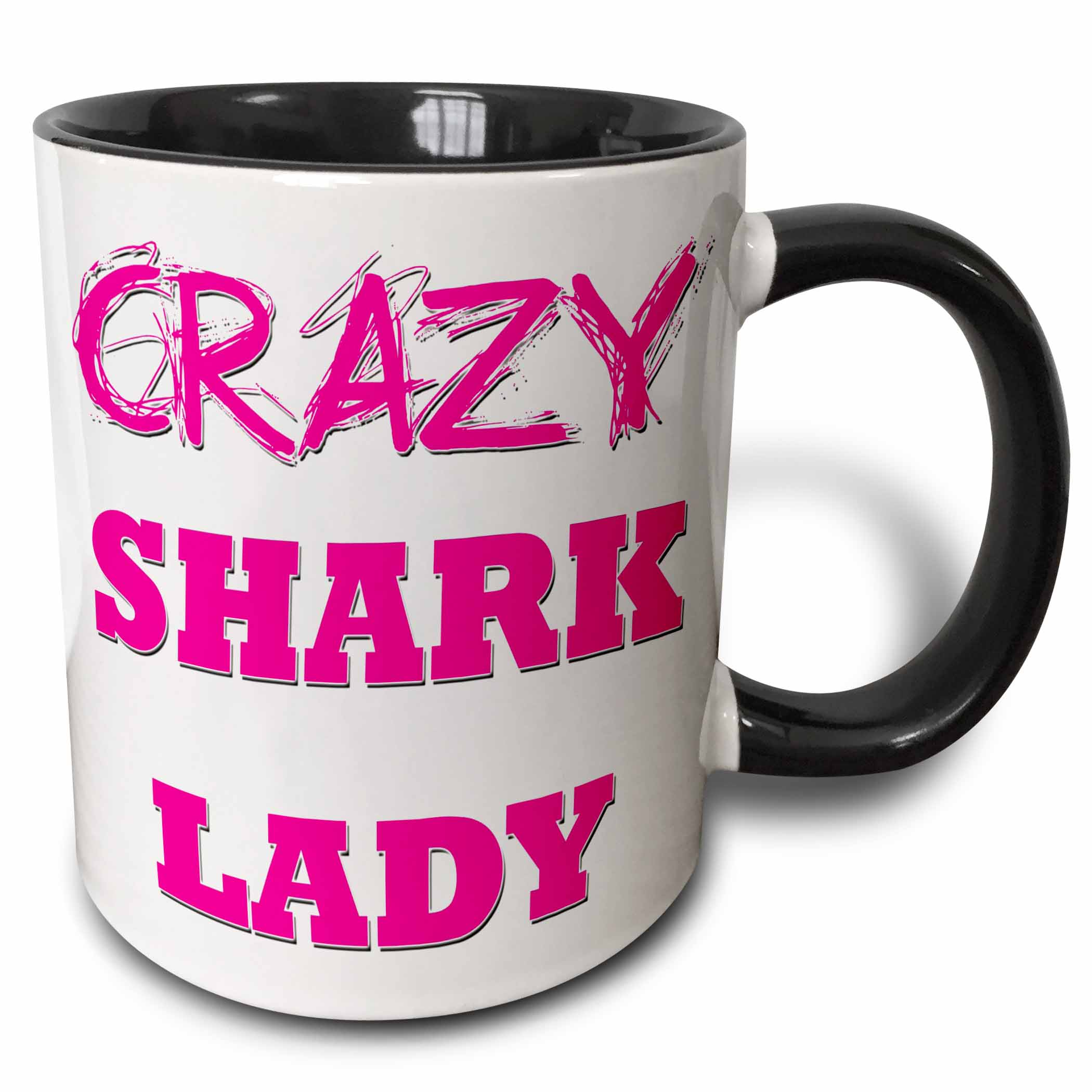 3dRose Crazy Shark Lady - Two Tone Black Mug, 11-ounce