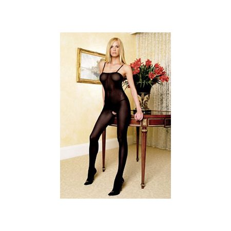 Women's Opaque Bodystocking with Spaghetti Straps, Black, One Size](Plus Size Bodystockings)