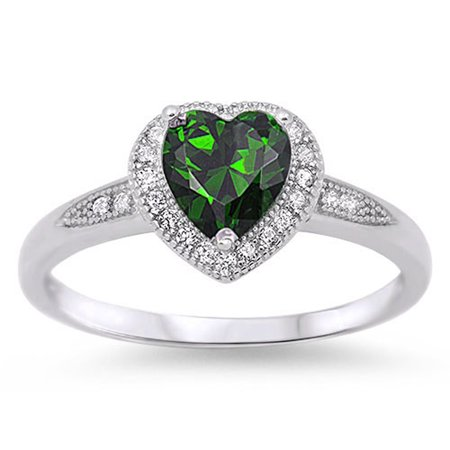 CHOOSE YOUR COLOR Sterling Silver Women's Simulated Emerald Halo Ring Promise 925 Band 8mm