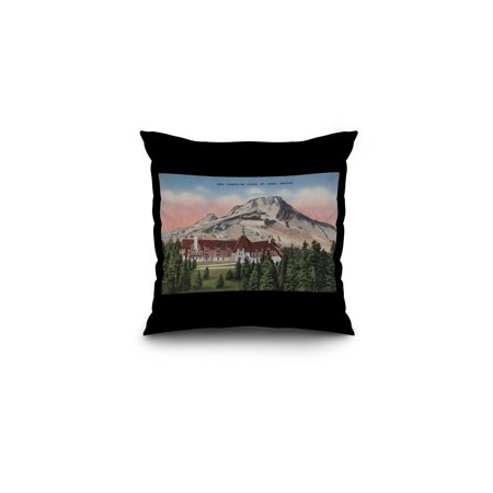 Mount Hood, Oregon - View of the New Timberline Lodge #2 (16x16 Spun Polyester Pillow, Black Border) (Mount Hood Timberline)