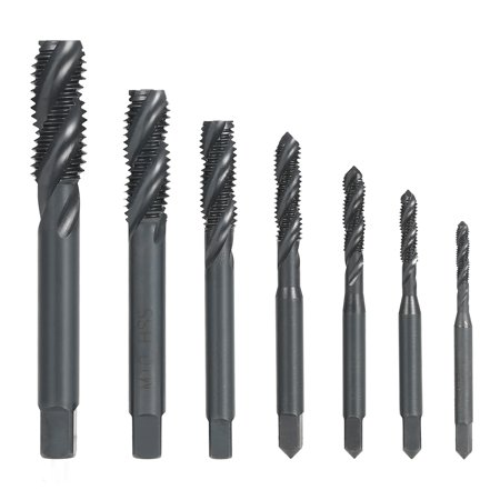 7PCS M3-M12 HSS Nitriding Coated Metric Spiral Flute Taps Machine & Manual Screw Thread Tap Set for Metal Wood Plastic Tapping M3/M4/M5/M6/M8/M10/M12 - Flute Spiral Pointed Taps