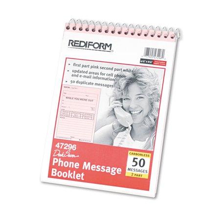 Desk Saver Line Wirebound Message Book, 6 1/4 x 4 1/4, Two-Part, 50 Forms