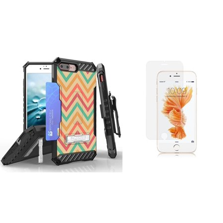 Beyond Cell Tri Shield Series Compatible with iPhone 8 Plus, iPhone 7 Plus Bundle with Military Grade Clip Holster Case (Coral Chevron) with Tempered Glass Screen Protector and Atom Cloth