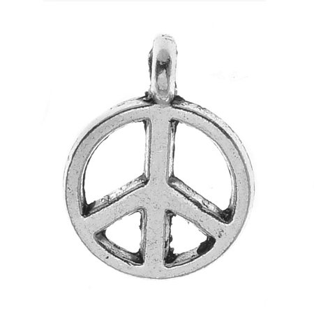 Lead-Free Pewter Charms, Sleek Peace Signs 12mm, 6 Pieces, Antiqued - Pewter Peace Sign Charms