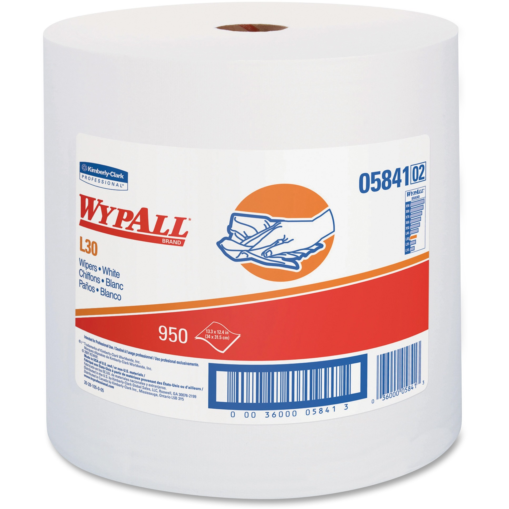 Wypall, KCC05841, L30 Wipers Jumbo Roll, 1 / Carton, White