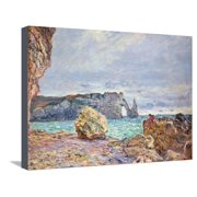 Etretat, Beach and Falaise D'Aval, 1884 Stretched Canvas Print Wall Art By Claude Monet