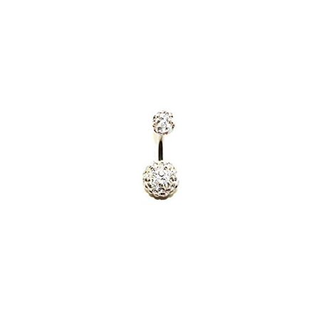 Jewels Fashion Surgical Steel Dangle Ball w/ Clear Stones Belly Ring (WHITE) Clear Gem Dangle Belly Ring